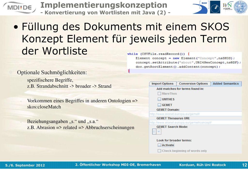 Implementierungskonzeption - Konvertierung von Wortlisten mit Java (2) -