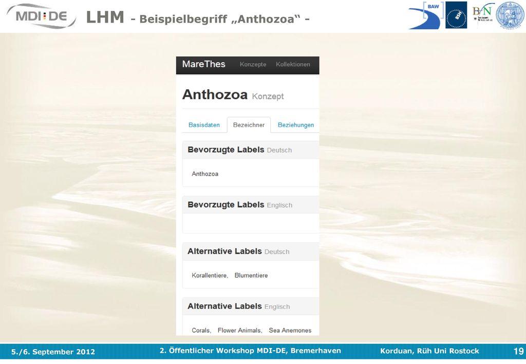 """LHM - Beispielbegriff """"Anthozoa -"""