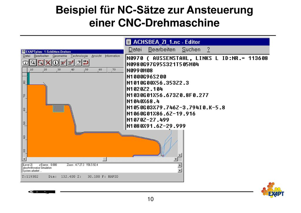 Beispiel für NC-Sätze zur Ansteuerung einer CNC-Drehmaschine