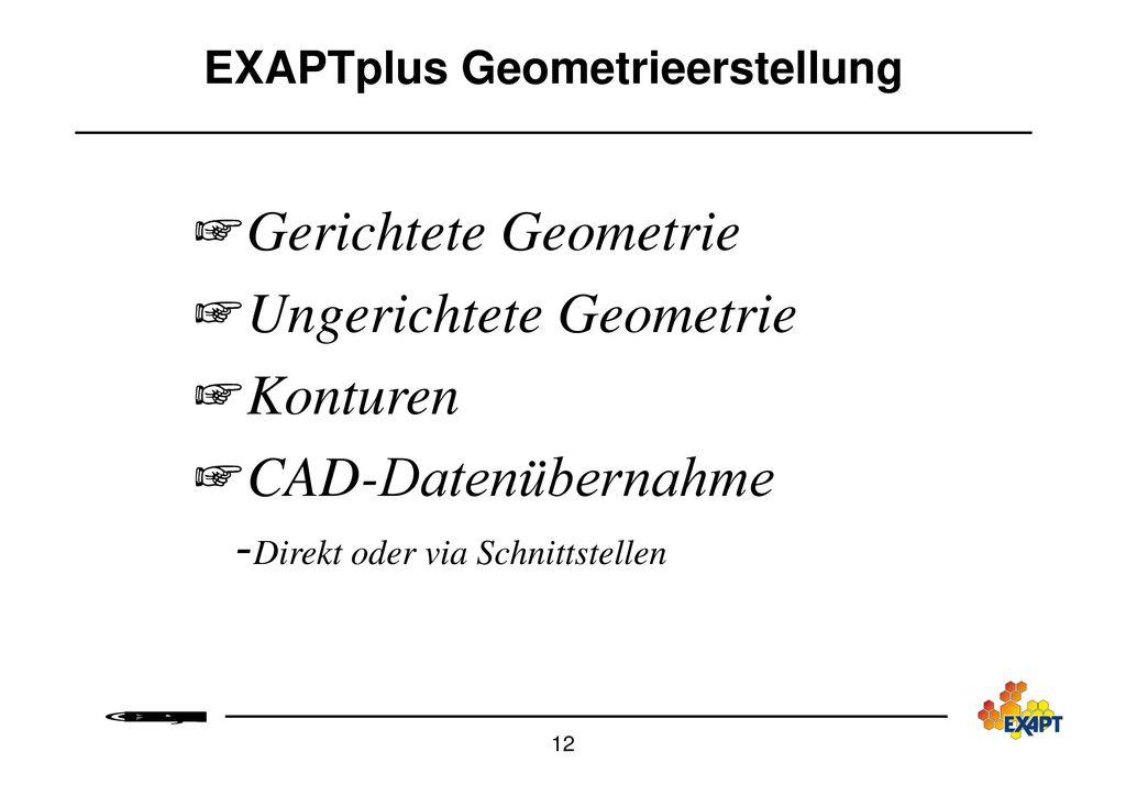 EXAPTplus Geometrieerstellung