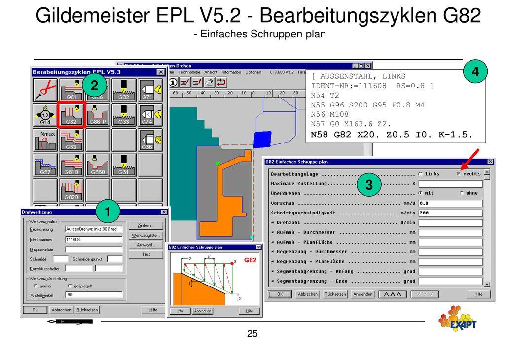 Gildemeister EPL V5.2 - Bearbeitungszyklen G82 - Einfaches Schruppen plan