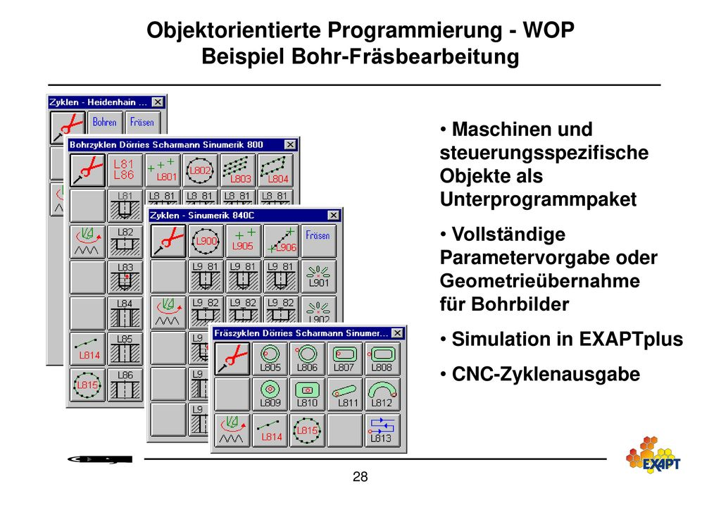 Objektorientierte Programmierung - WOP Beispiel Bohr-Fräsbearbeitung