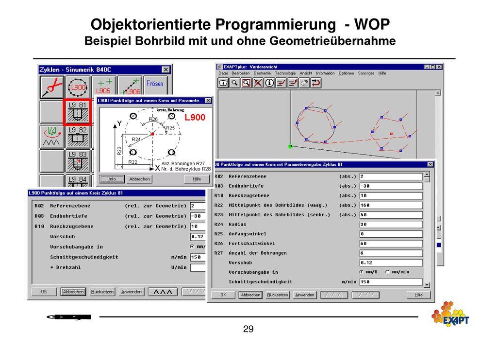 Objektorientierte Programmierung - WOP Beispiel Bohrbild mit und ohne Geometrieübernahme