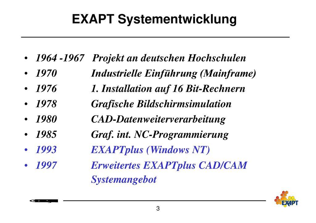 EXAPT Systementwicklung