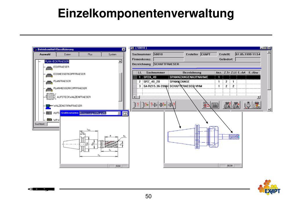 Werkzeugübersicht mit Grafikdarstellung