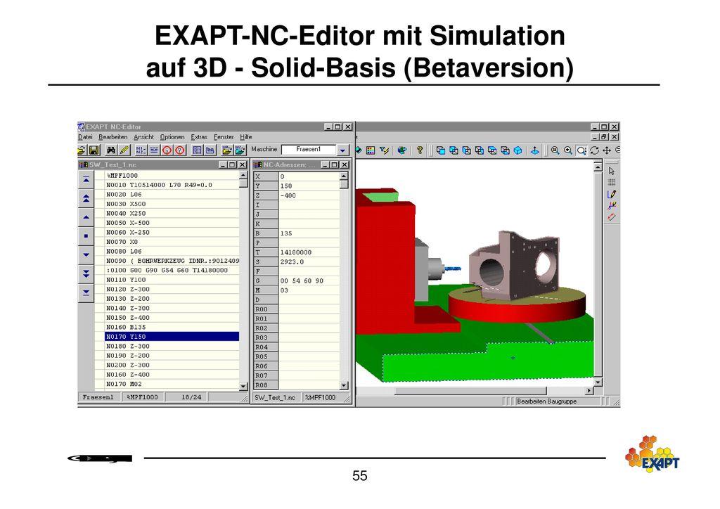EXAPT-NC-Editor mit Simulation