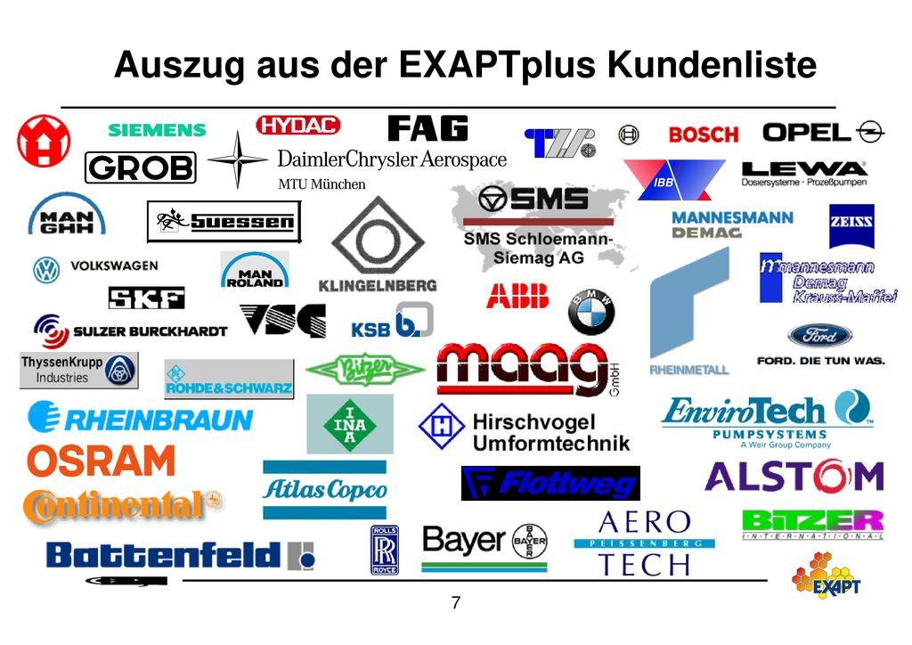 Auszug aus der EXAPTplus Kundenliste