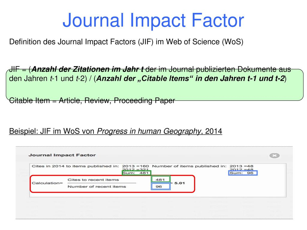 Journal Impact Factor Definition des Journal Impact Factors (JIF) im Web of Science (WoS)