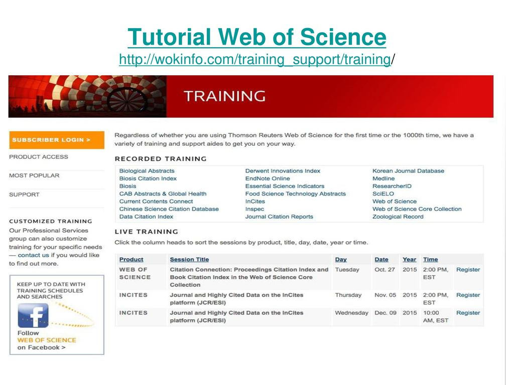 Tutorial Web of Science http://wokinfo.com/training_support/training/