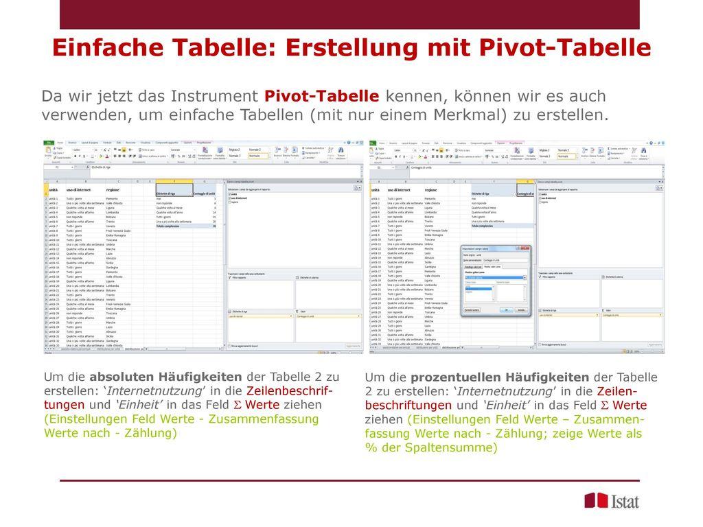 Einfache Tabelle: Erstellung mit Pivot-Tabelle