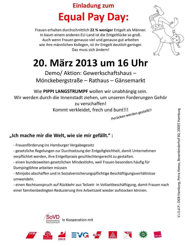 Equal Pay Day: 20. März 2013 um 16 Uhr Einladung zum