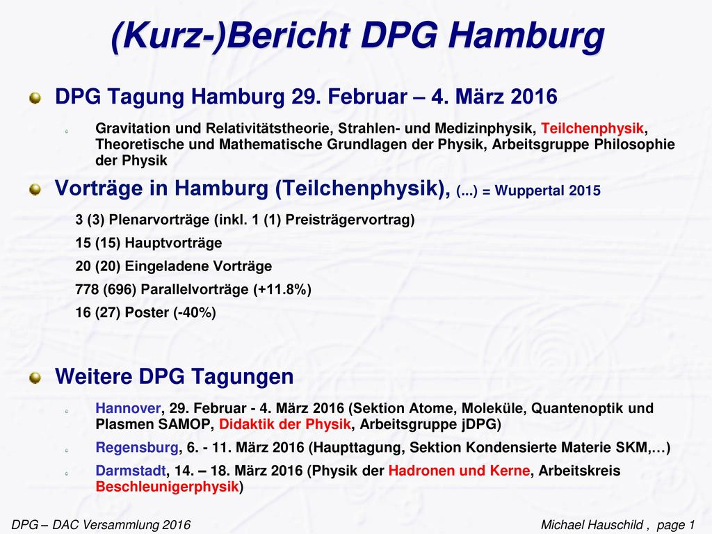 (Kurz-)Bericht DPG Hamburg
