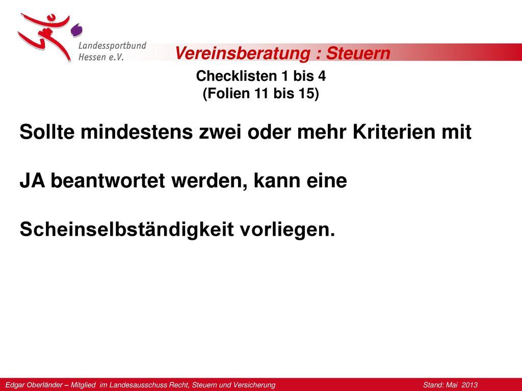 Checklisten 1 bis 4 (Folien 11 bis 15)