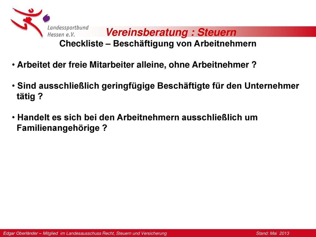 Checkliste – Beschäftigung von Arbeitnehmern