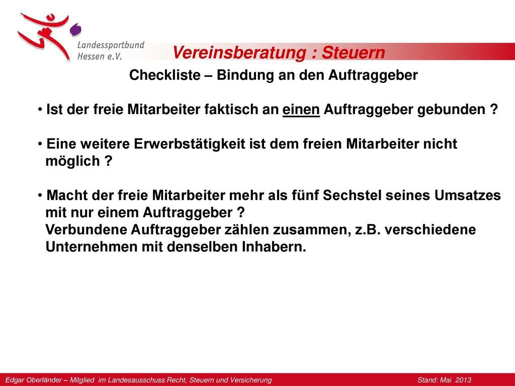 Checkliste – Bindung an den Auftraggeber