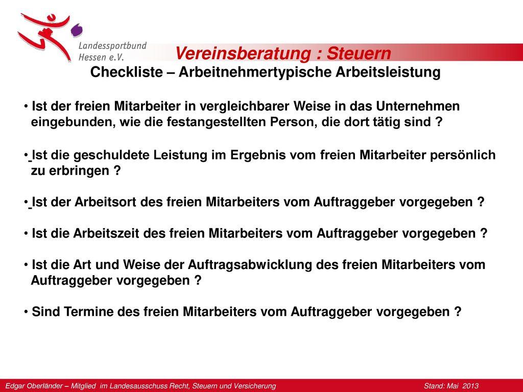 Checkliste – Arbeitnehmertypische Arbeitsleistung