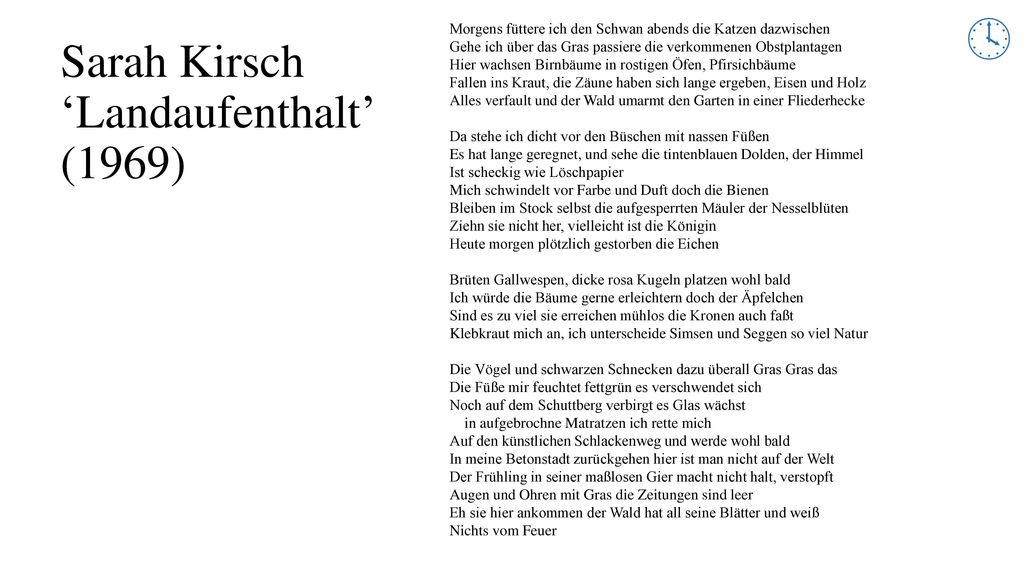 Sarah Kirsch 'Landaufenthalt' (1969)
