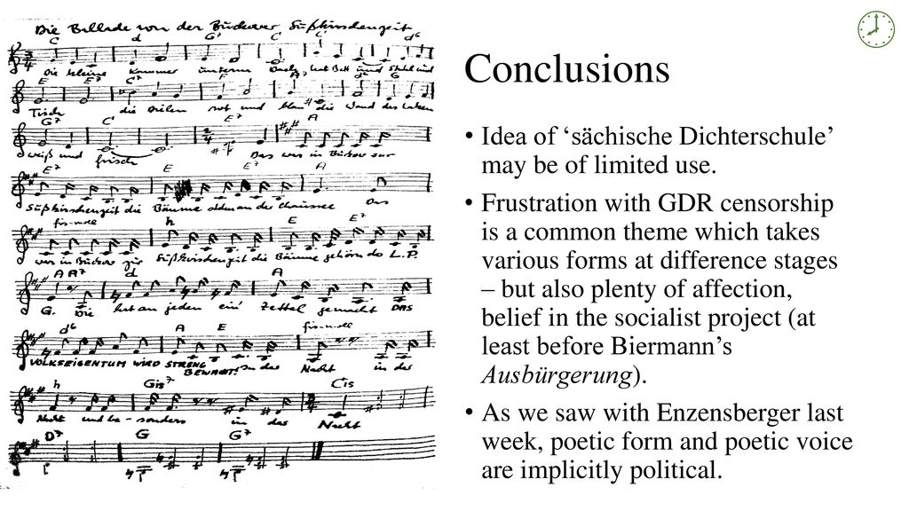  Conclusions Idea of 'sächische Dichterschule' may be of limited use.