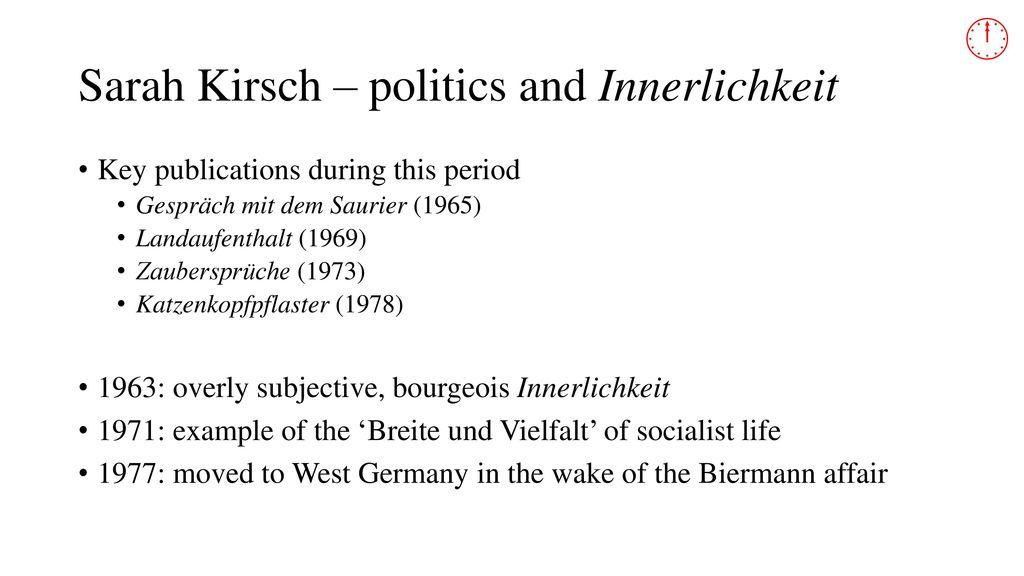 Sarah Kirsch – politics and Innerlichkeit