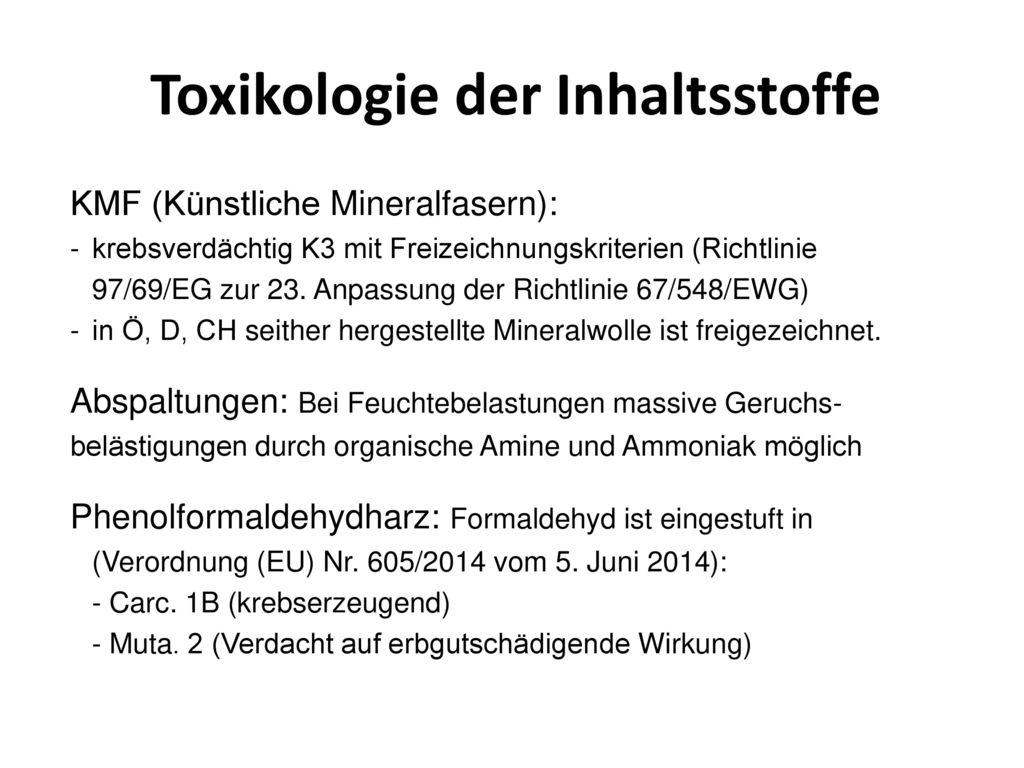 Toxikologie der Inhaltsstoffe
