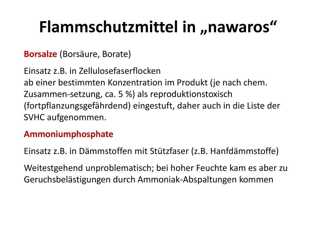 """Flammschutzmittel in """"nawaros"""