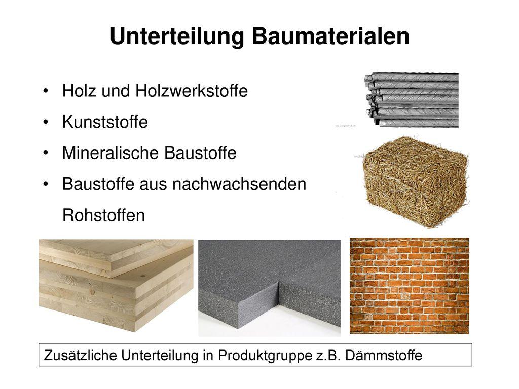 Unterteilung Baumaterialen