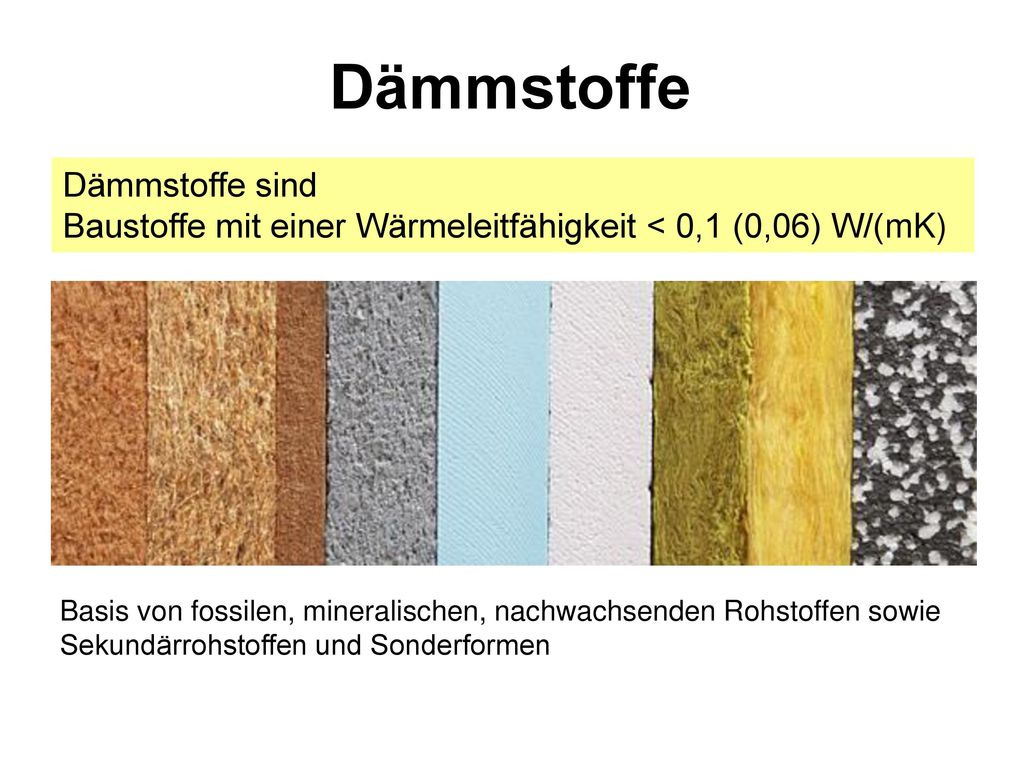 Dämmstoffe Dämmstoffe sind Baustoffe mit einer Wärmeleitfähigkeit < 0,1 (0,06) W/(mK)