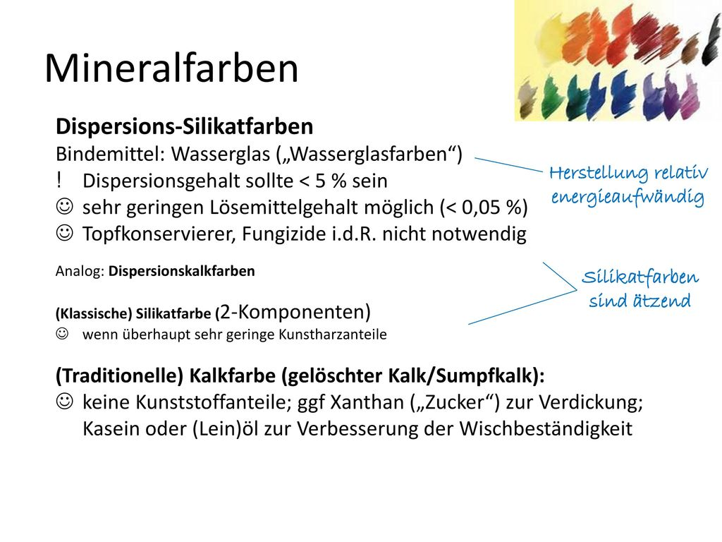 Wandfarben Dispersionsfarben Naturfarben Mineralfarben