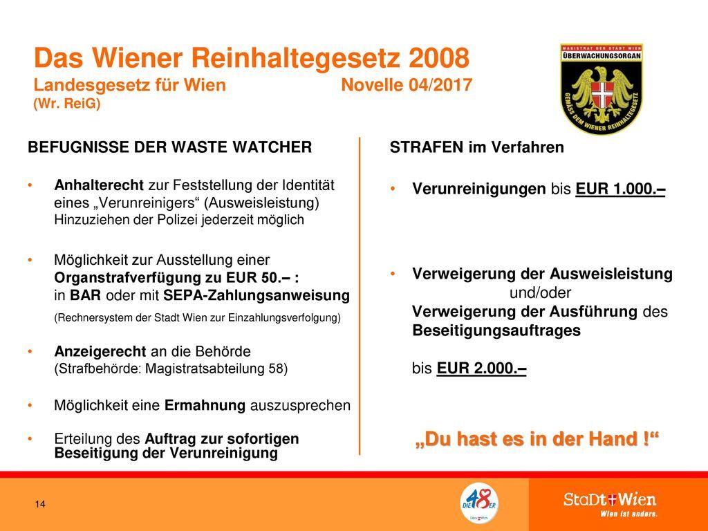Das Wiener Reinhaltegesetz 2008