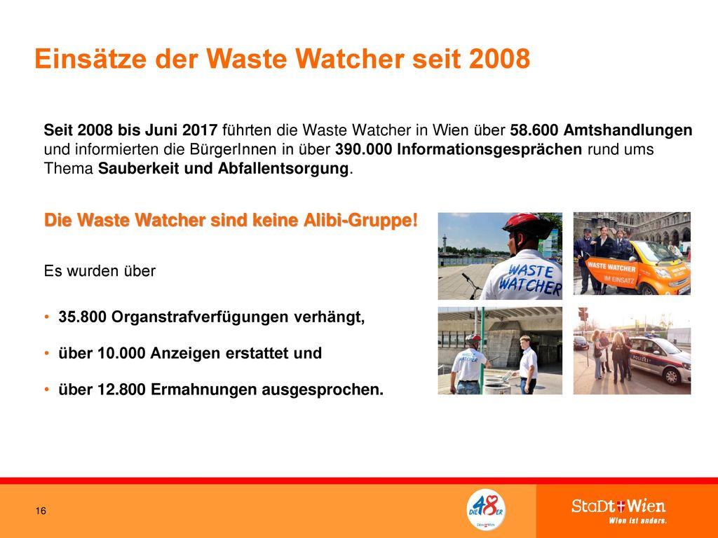 Einsätze der Waste Watcher seit 2008