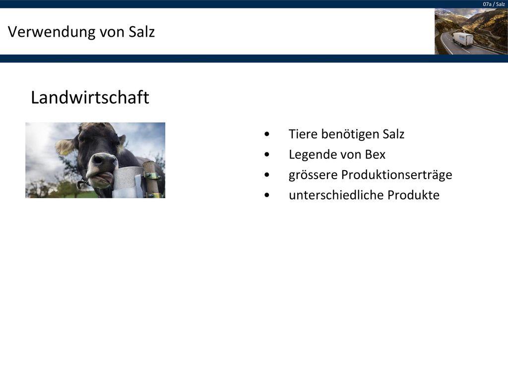 Landwirtschaft Verwendung von Salz Tiere benötigen Salz
