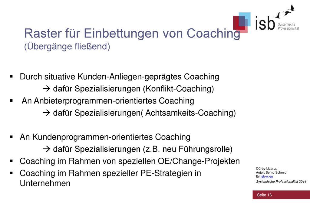Raster für Einbettungen von Coaching (Übergänge fließend)
