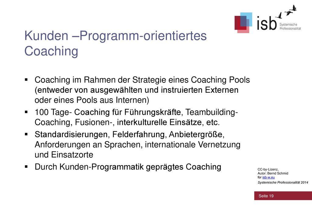 Kunden –Programm-orientiertes Coaching