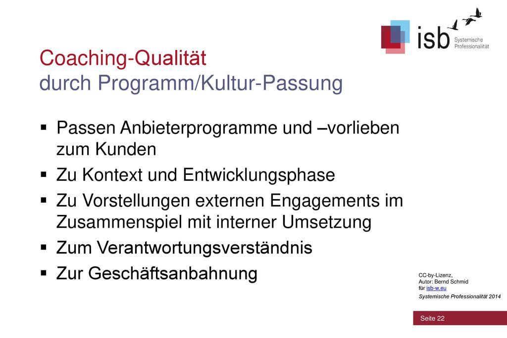 Coaching-Qualität durch Programm/Kultur-Passung