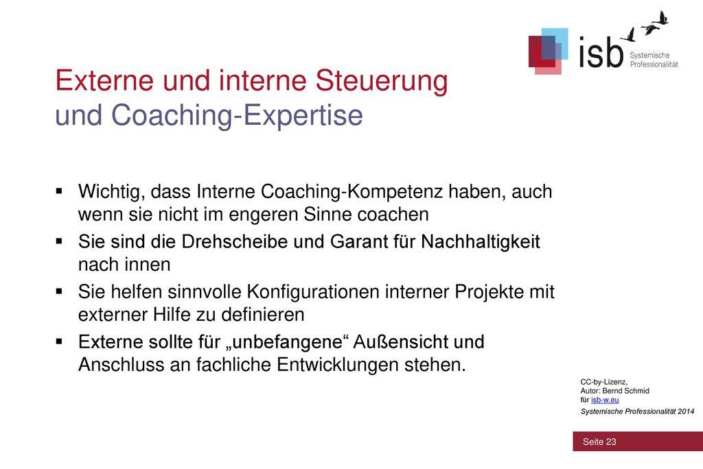 Externe und interne Steuerung und Coaching-Expertise