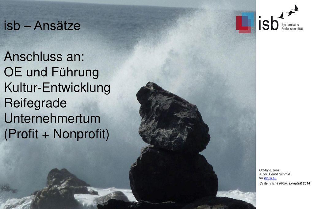 isb – Ansätze Anschluss an: OE und Führung Kultur-Entwicklung Reifegrade Unternehmertum (Profit + Nonprofit)