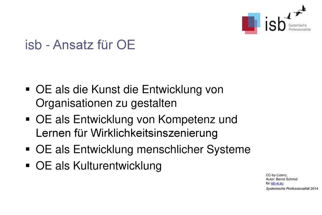 isb - Ansatz für OE OE als die Kunst die Entwicklung von Organisationen zu gestalten.