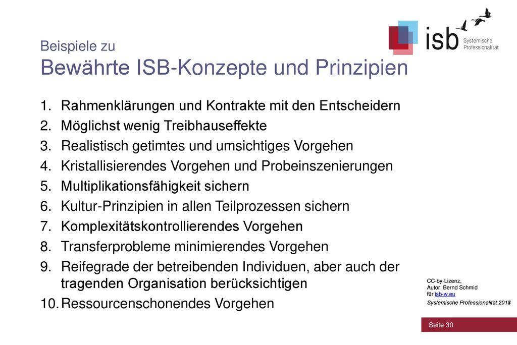 Beispiele zu Bewährte ISB-Konzepte und Prinzipien