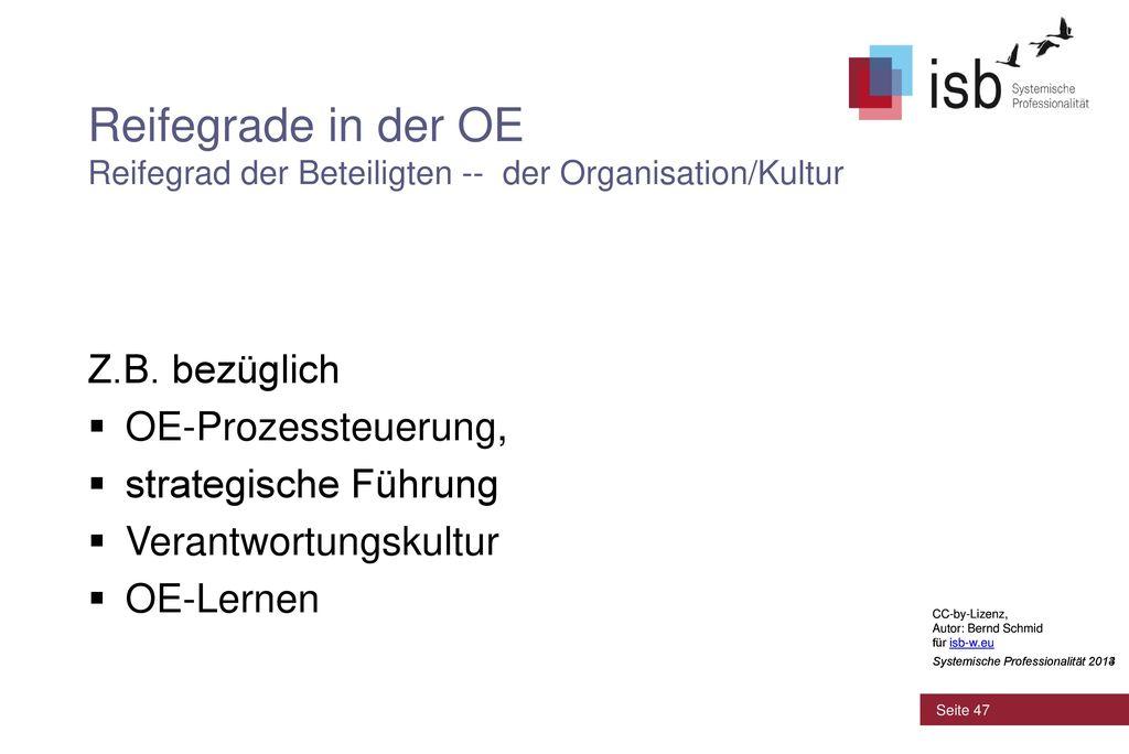 Reifegrade in der OE Reifegrad der Beteiligten -- der Organisation/Kultur