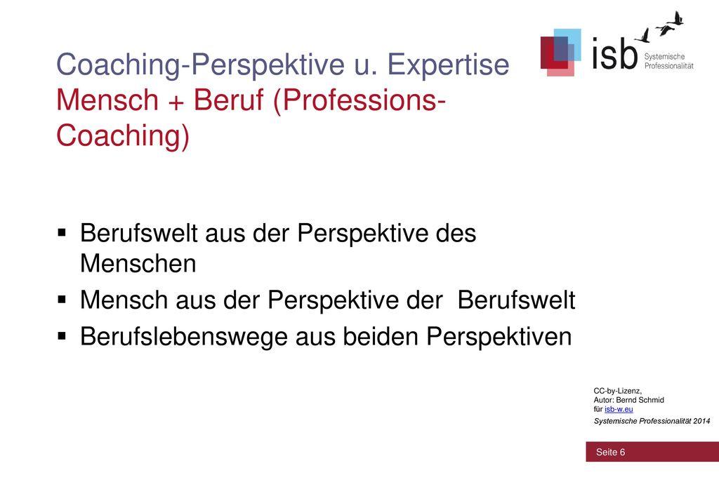 Coaching-Perspektive u. Expertise Mensch + Beruf (Professions-Coaching)