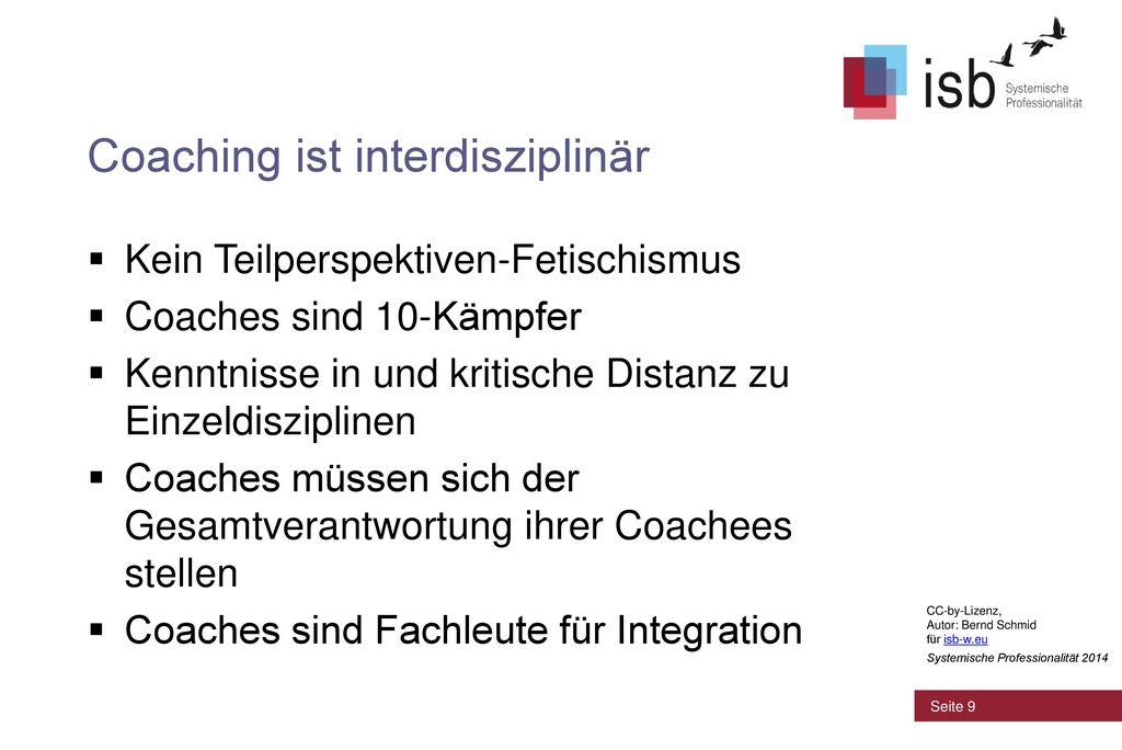Coaching ist interdisziplinär