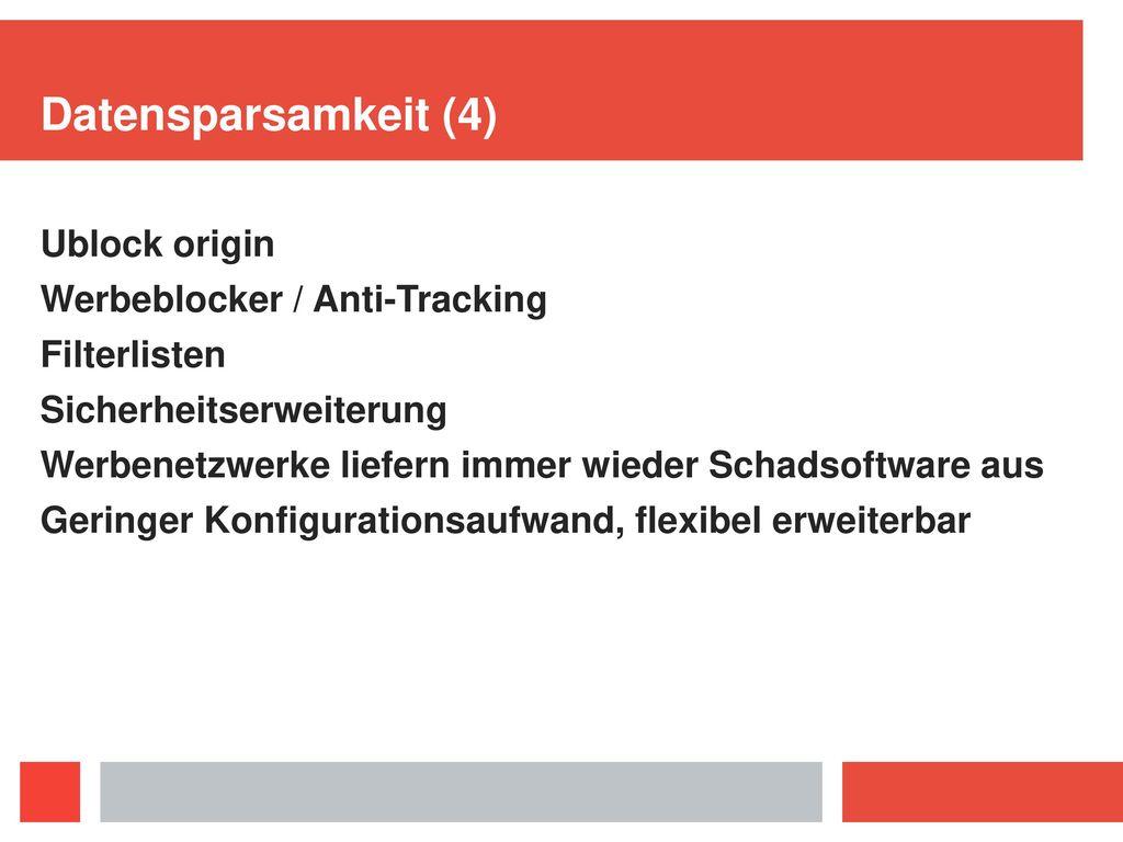 Datensparsamkeit (4) Ublock origin Werbeblocker / Anti-Tracking