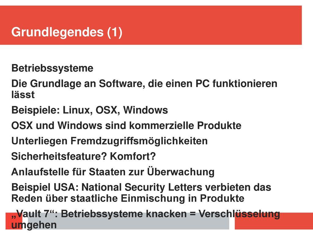 Grundlegendes (1) Betriebssysteme