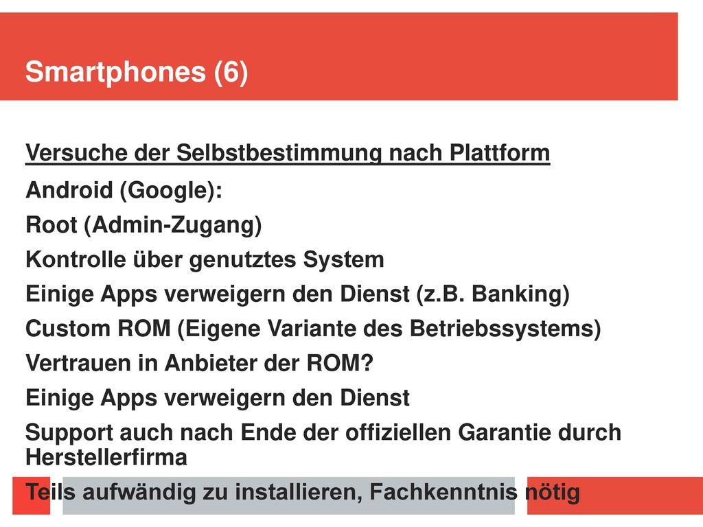 Smartphones (6) Versuche der Selbstbestimmung nach Plattform