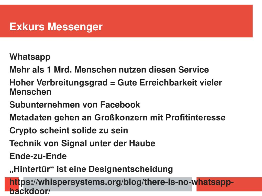 Exkurs Messenger Whatsapp