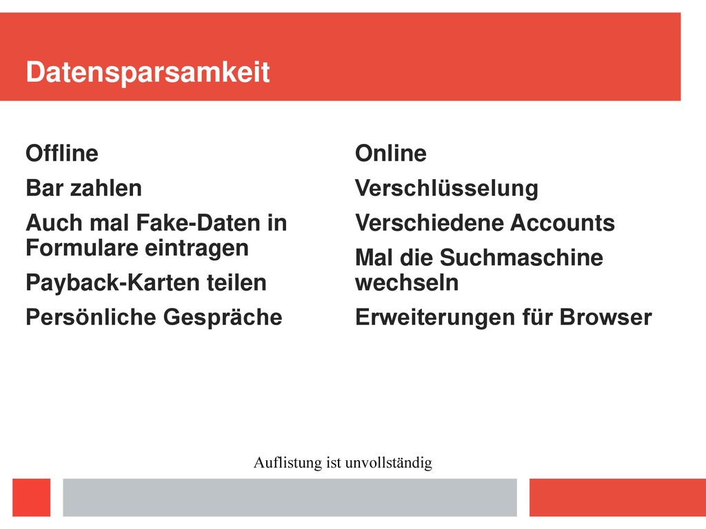 Datensparsamkeit Offline Bar zahlen