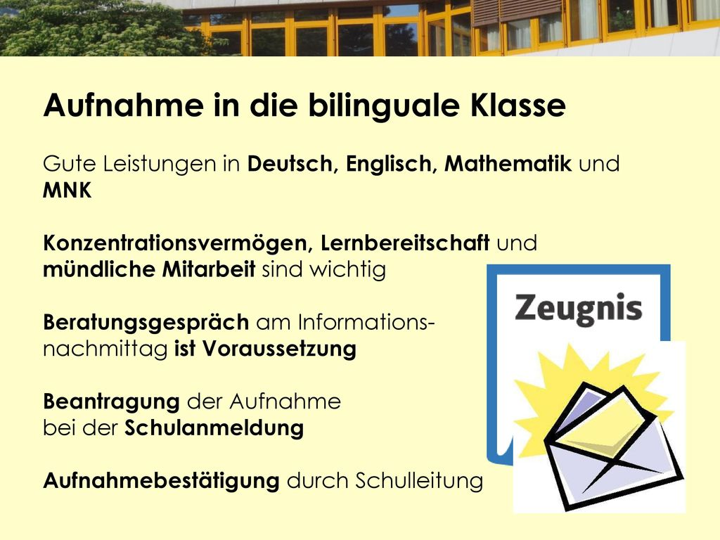 Aufnahme in die bilinguale Klasse