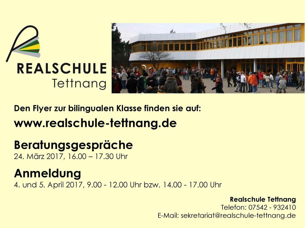 www.realschule-tettnang.de Beratungsgespräche Anmeldung