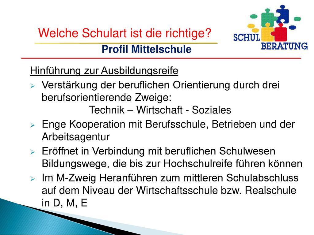 Profil Mittelschule Hinführung zur Ausbildungsreife.