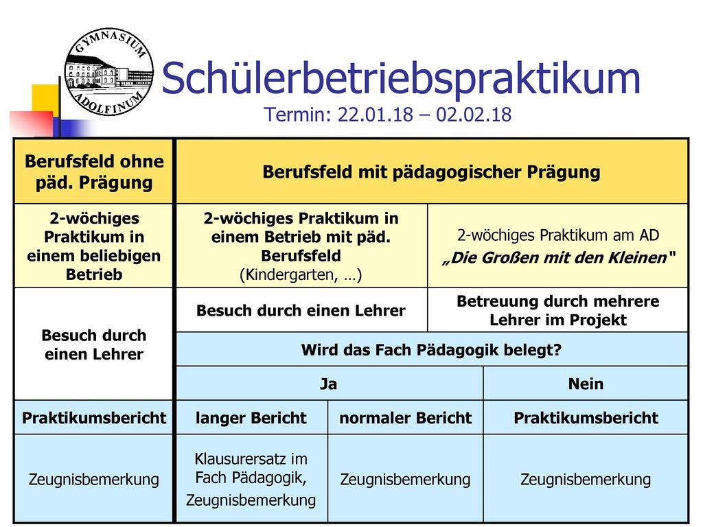 Schülerbetriebspraktikum Termin: 22.01.18 – 02.02.18